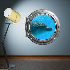 Full Colour delfino nave mare oblò Wall Sticker bambini Bagno Decalcomania WSD576