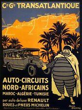 MICHELIN AUTO CIRCUIT MAROC ALGERIE TUNISIA AFRICA TRAVEL VINTAGE POSTER REPRO