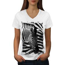 Cabeza De Cebra Safari Mujer Cuello en V wellcoda Camiseta Nuevo |