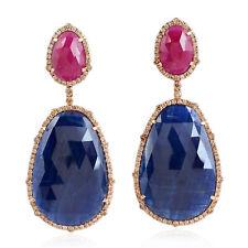 Solid 18K Rose Gold Diamond Blue Sapphire Ruby Dangle Earrings For Women
