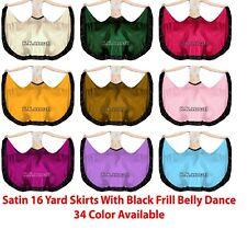 Satin Belly Dance 16 yard Skirt GYPSY Black Frill Fusion Flamenco ATS Gothic S58