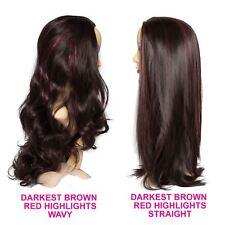 "22"" Ladies 3/4 WIG Clip In Hair Piece Darkest Brown/Red Highlights 3 Styles"