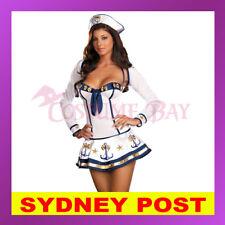 Makin Waves Sexy Naughty Navy Sailor Girl Captain Uniform Retro Pin Up Costume
