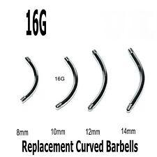 Eyebrow Bars 10 Curved Threaded Barbell Blanks Spare Rook Snug Helix Belly 16g