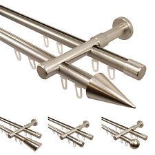 Gardinenstangen Vorhangstangen mit Innenlauf 2-läufig Edelstahl Optik 20 mm