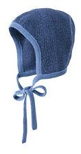 DISANA Häubchen 100% kbT Wolle Strick Mütze blau Gr.01 (42-46cm KU)