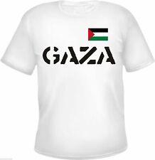 GAZA T-Shirt - WEISS - Text / Flagge - S - 3XL - PALÄSTINA westjordan palestine