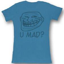 Troll Face U Mad? Juniors Lightweight Turquoise T-Shirt
