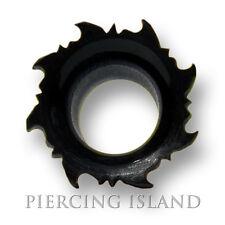 6mm - 26mm BLACK HORN TRIBAL DESIGN chirurgico Flesh Tunnel Plug Nero Orecchio Piercing 198