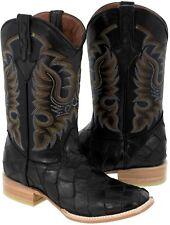 Para hombres Cuero Pescado Negro Diseño Pirarucu botas de vaquero Puntera  Cuadrada Western Wear 2ef25e202d4