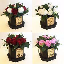Tombe Vase & roses, or plaque, rouge/blanc/rose, creme Pot Fleur Funérailles Hommage