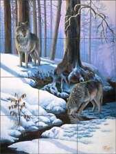 Wolf Tile Backsplash Kendrick Ceramic Animal Wildlife Art Mural POV-LKA009