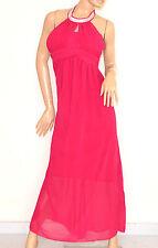 VESTITO ROSA FUCSIA elegante ABITO LUNGO strass seta cerimonia party dress E130