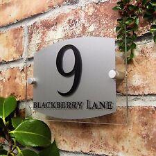 Número De Casa Moderna Placa Puerta Señal Placa de Vidrio Efecto De Negocios Dirección
