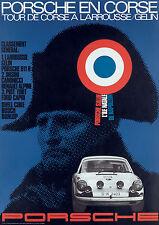 Porsche En Corse Larrousse/Gelin Vintage Poster Print on Paper/Canvas