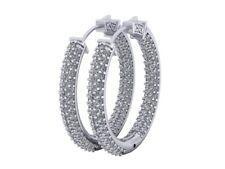 3.00Ct Round Cut Diamond Ladies Inside Out Hoop Earrings 18k Gold