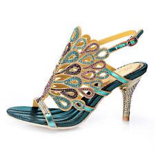 Shine Peacock Rhinestone Crystal High Heel Sandal Evening Wedding Shoe 5 Colours