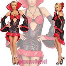 Costume carnevale Regina VAMPIRO rosso donna halloween travestimento DL-065