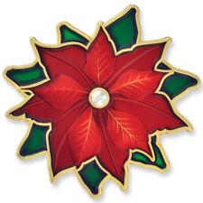 PinMart's Christmas Poinsettia Rhinestone X-Mas Holiday Enamel Brooch Pin