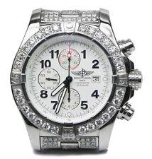 16 Carat Diamond Breitling A13370 Super Avenger Chronograph Box Papers 48mm