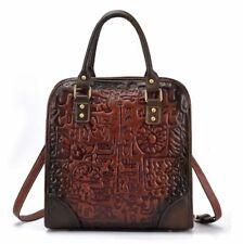 New Retro Women Genuine Cow Leather Shoulder Bag Handbag Purse Embossed Coffee