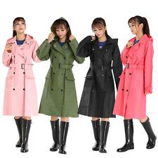 Women Outdoor Hiking Travel Girls Portable Hooded Raincoat Windbreaker w/ Belt T