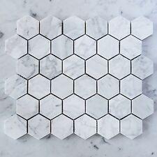 Carrara Marble Hexagon 50mm Mosaic Tiles (Sheet)