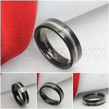 Mens Titanium Two Tone Black Silver Etched Center Wedding Band Fashion Ring