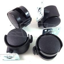 40mm PLATE & BRAKE CASTER WHEEL - BLACK NYLON 20kg LOAD CAPACITY