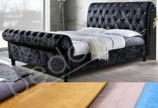Plush Velvet Fabric Astral Hand Upholstered Sleigh Bed Frame 3ft, 4ft6, 5ft, 6ft