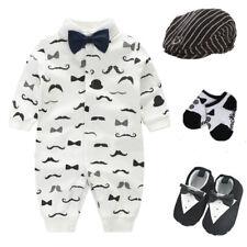 Newborn baby boy party birthday Tuxedo bodysuit+hat+socks+shoes baby shower gift