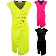 Ladies Cap Sleeve V Neck Wrap Gathered Textured Split Women's Bodycon Dress