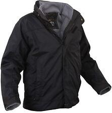 Black All Weather 3-In-1 Waterproof Jacket w/ Detachable Fleece Liner S-3XL