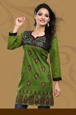 New Indian Designer Gorgious Printed Green Crepe Silk Kurtis Tunic Top for Women