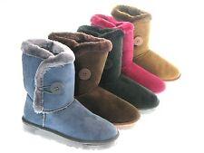 NEW Winter Faux Suede Fur Comfort Boot Short Side Button Women Shoe Sz 5-9.5