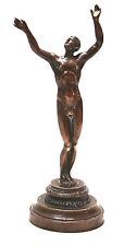 """Old small bronze Austrian Vienna MS Gesetzl Geschutzt naked gay man Adam ? 6"""""""