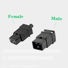 IEC320 Rewireable Power Cable Connector AC 250V 16A C19 Socket/C20 Plug Black