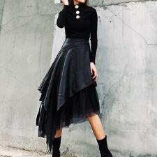 Steampunk Women Asymmetrical Leather Skirt Gothic High Waist Mesh A-Line Dresses