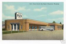 1940s Linen Postcard Union Bus Depot Cheyenne Wyoming