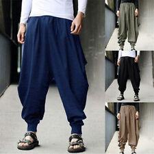 Mens Harem Pants Grey Hippie Yoga Plain Aladdin Martial Loose Baggy Trousers New