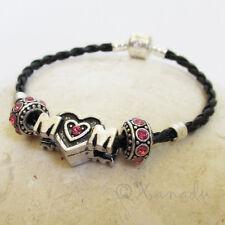 Hot Pink MOM Heart European Charm Bracelet - Rhinestone Beads On Black Leather