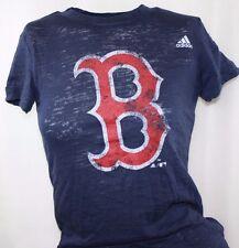 NEW Juniors Girls ADIDAS Boston RED SOX Blue Burn Out Style Baseball S/S Shirt