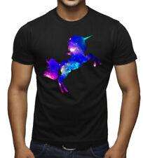 New Galaxy Unicorn Black T Shirt Space Fantasy Horse Pony Animal Stars High