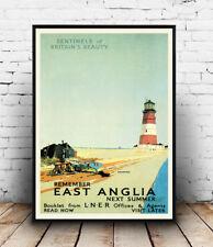 East Anglia: Vintage Rail LNER Travel advert, Wall art ,poster, Reproduction.