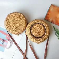 Mori girl Circle Handwoven Bali Round Retro Rattan Straw Beach Bag Crossbody LOT