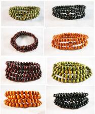 108 Round Sandalwood Buddhist Prayer Beads Mala Bracelet various color and size