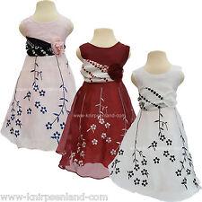 Satinkleid Mädchen Kinder Kleid bestickt Sommerkleid festliches Hochzeitskleid