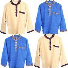 Mens Hippies Shirt Boho Cotton Light Granddad Boarder Festival Full Sleeved