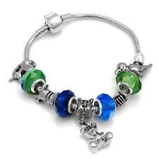 TeddyBear Bracelet-Crystals/Glass/Silver Beads-7.5 Inch