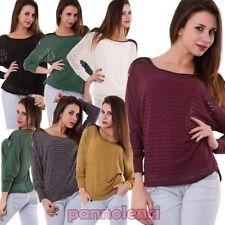 suéter mujer halar suéter mangas murciélago largo rayas encaje nueva AS-1362